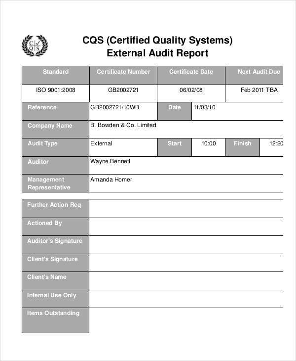 quality system audit report template