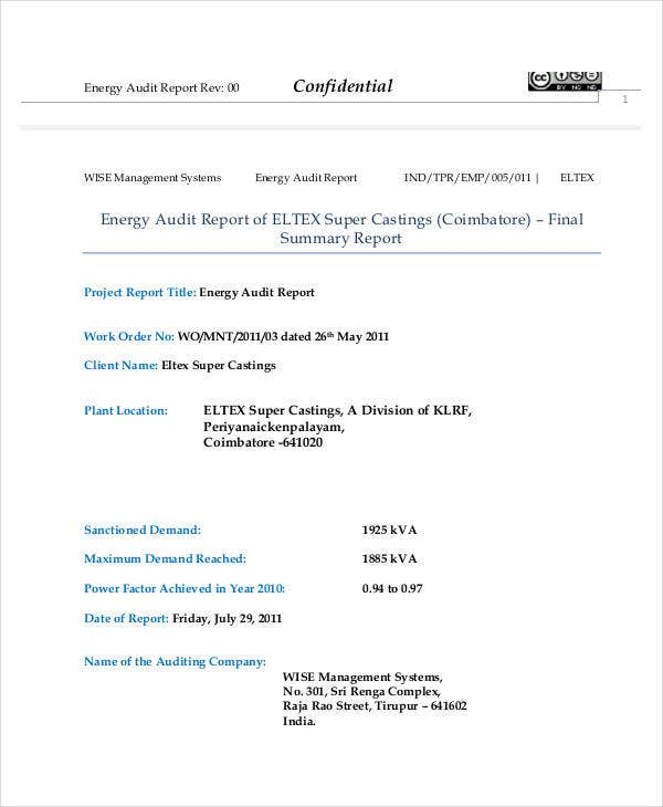 power quality audit report template