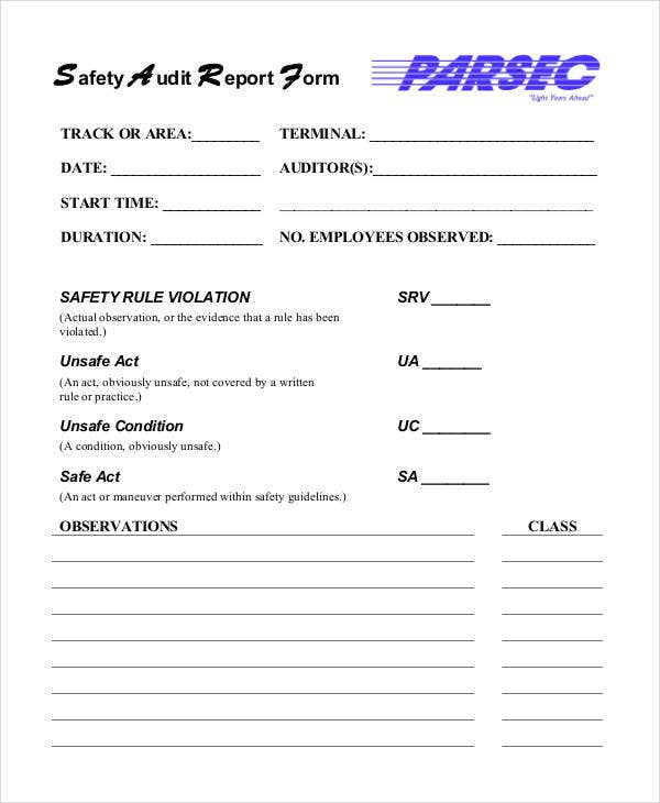 safety audit report form