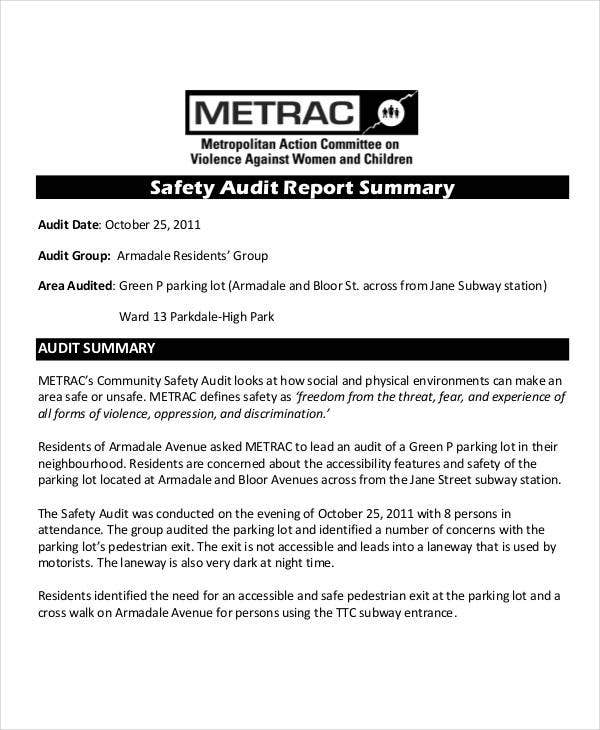 Safety Audit Report Templates  Free Pdf Format Download  Free