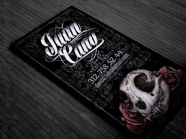 11 tattoo business card templates free premium templates tattoo business card template flashek Images