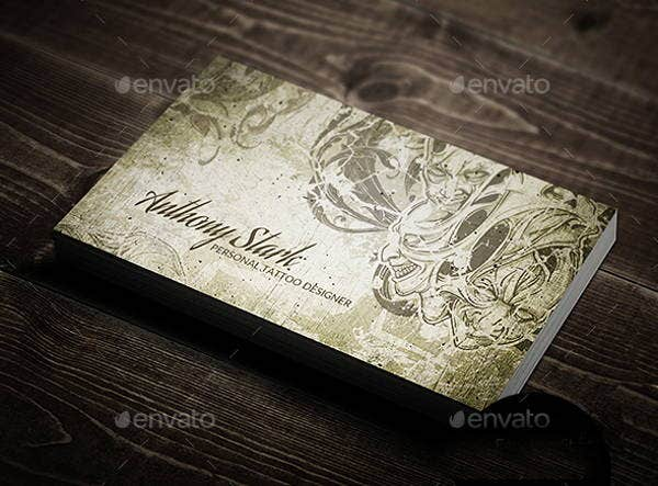 Vintage tattoo business cards images card design and for Tattoo business card templates