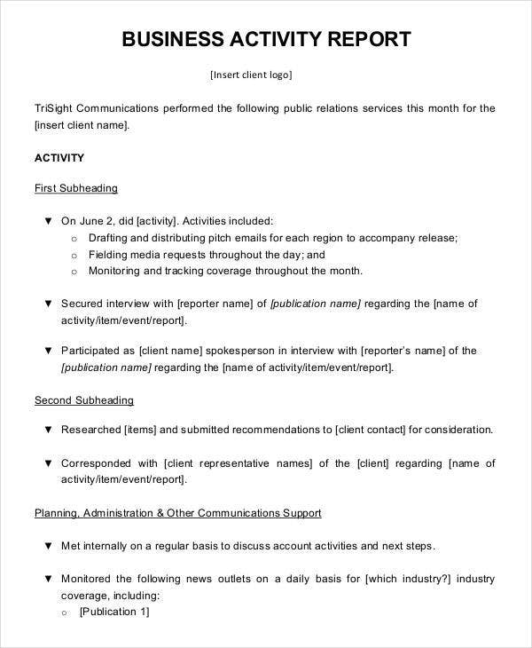 Business Activity Report Templates   Free Pdf Format Download