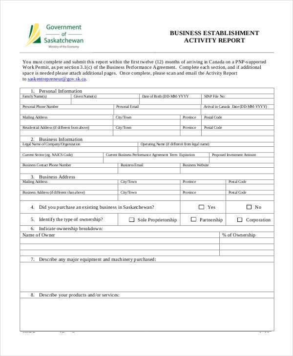 business establishment activity report template