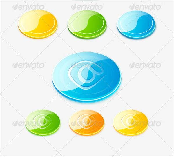 colorful 3d glossy button