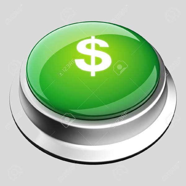 3d glossy money button