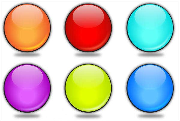 3d rounded vector glossy button