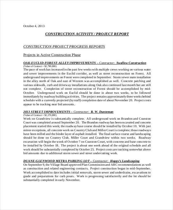 Doc1020597 Construction Project Progress Report Template Free – Construction Project Report Format