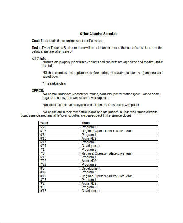 office cleaning schedule template doc