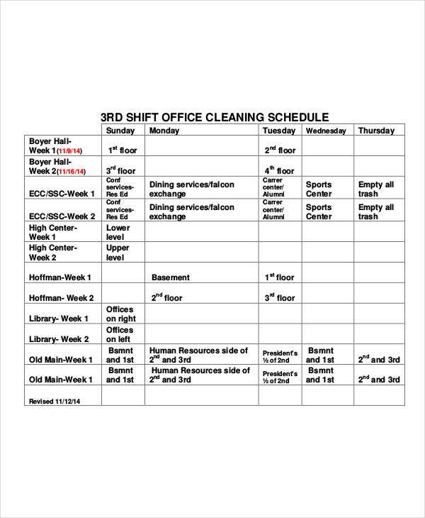 shift office cleaning schedule template