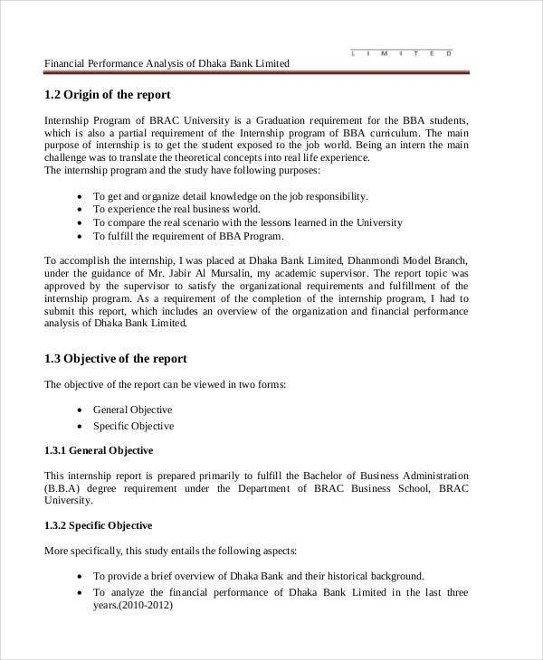 Financial Project Report Templates   Free Word Pdf Format