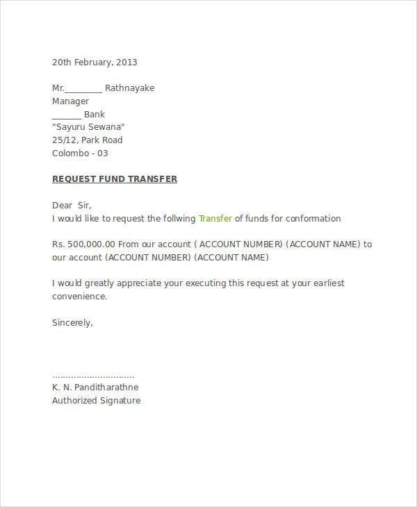10 fund transfer letter templates pdf doc apple pages google fund transfer confirmation letter example spiritdancerdesigns Image collections