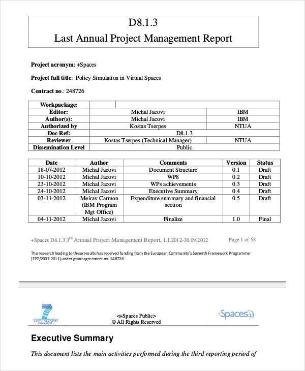 project management report templates 7 free pdf format download