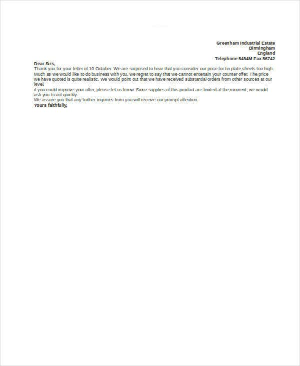 Counter Offer Letter Template 9 Free Word PDF Format Download – Decline Offer Letter