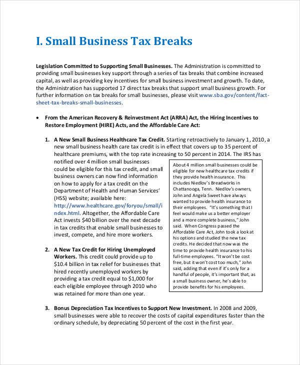 small business project report template