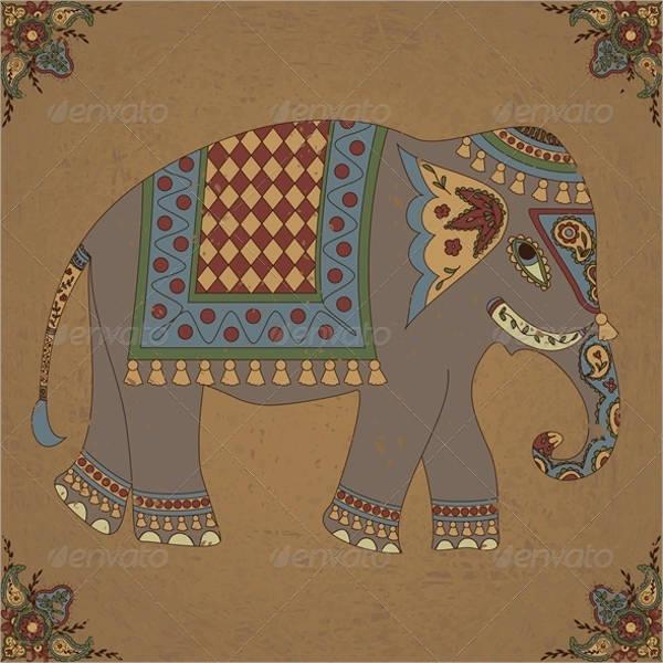 Vintage Elephant Painting
