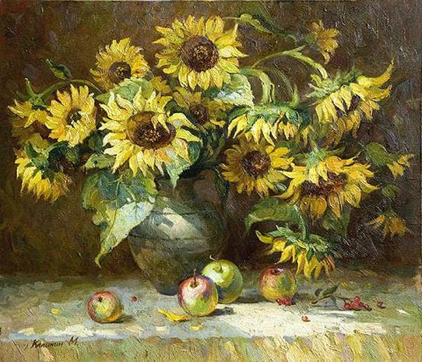 sunflower still life painting