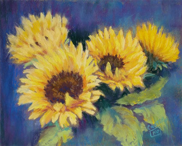 sunflower pastel painting