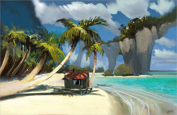palm tree beach painting