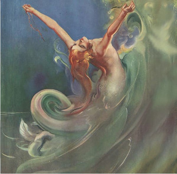 vintage mermaid painting