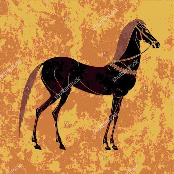 antique horse painting