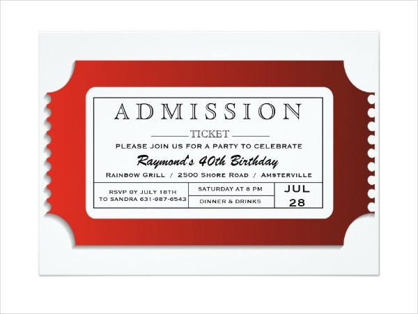Admission Ticket Invitation Template  Entry Ticket Template