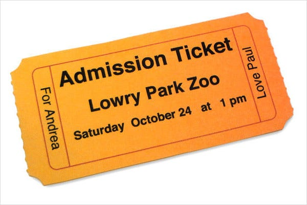 Printable Admission Ticket Template