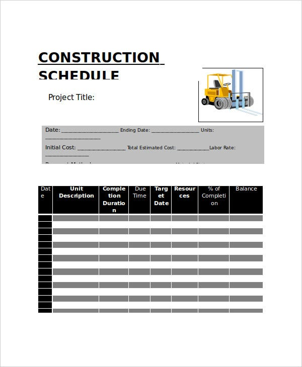 construction project work schedule template
