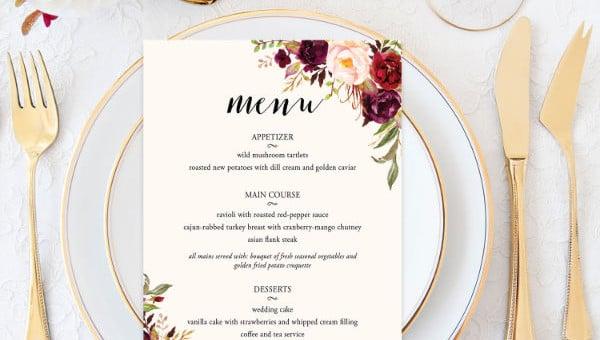 bridal shower menu templates1