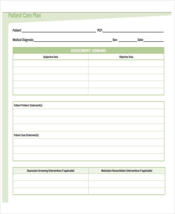 Basic Patient Care Plan Template