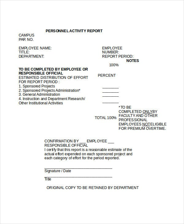 employee activity reporting system template