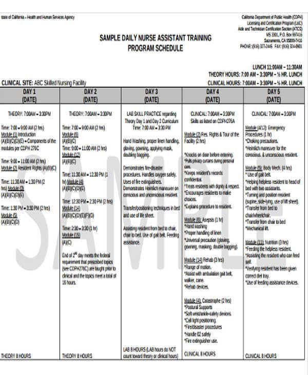 Training Program Schedule Templates   Free Word Pdf Format