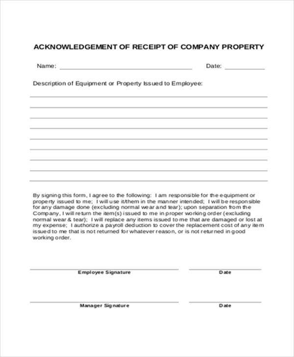 acknowledgement letter for return of company property