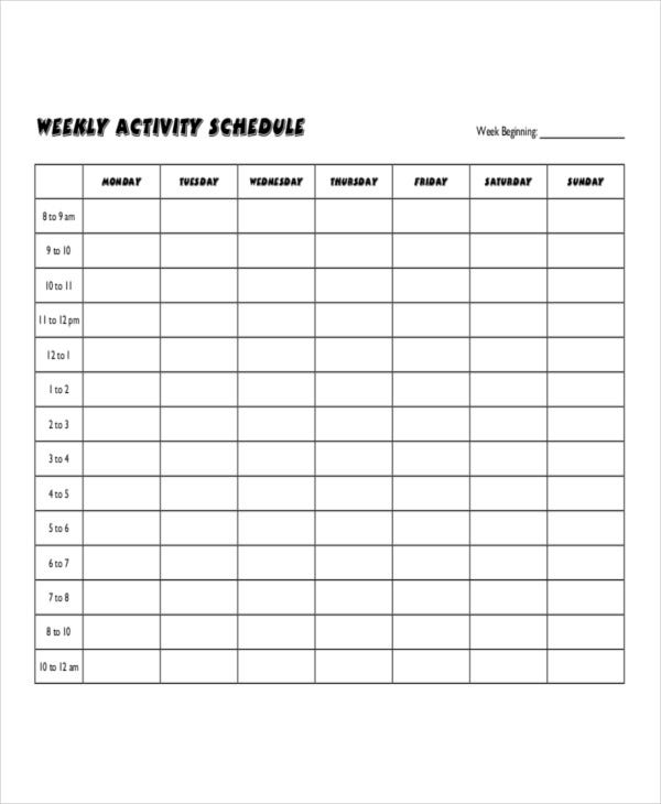 printable weekly activity schedule template