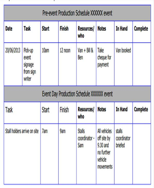 Sample Production Schedule Template Pre Production Schedule