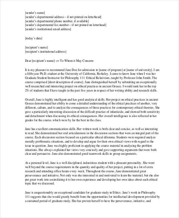 reference letter for internship student