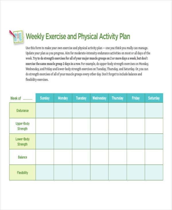 weekly physical activity schedule template