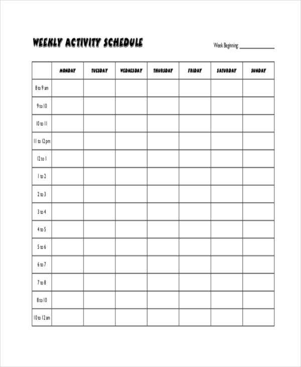 Blank Workout Schedule Templates   Free Word Pdf Format Download