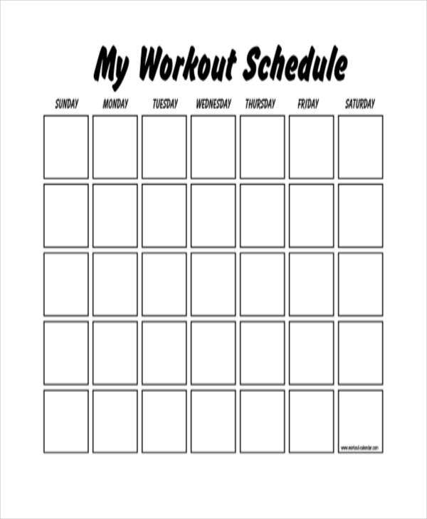 blank workout schedule pdf