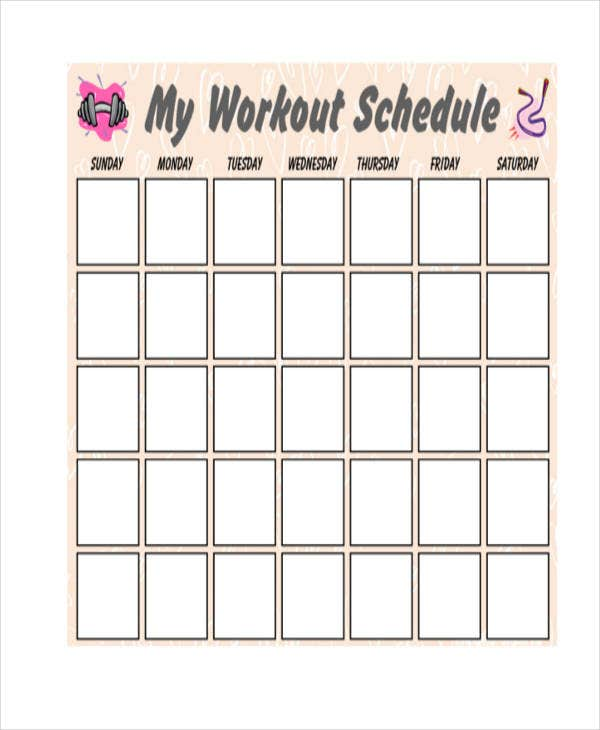 Blank Workout Schedule Templates   Free Word Pdf Format