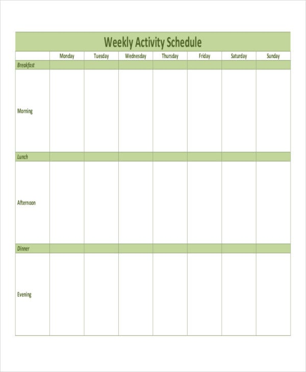 patient weekly activity schedule template
