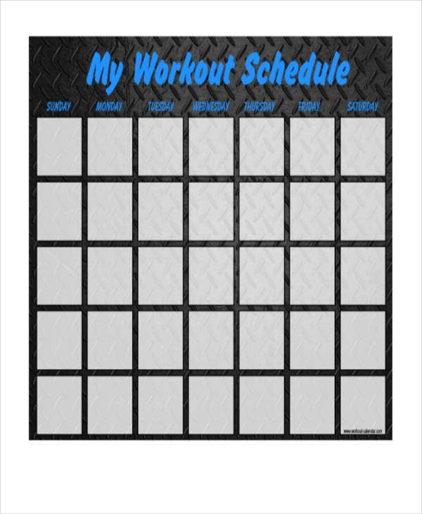 blank daily workout schedule template