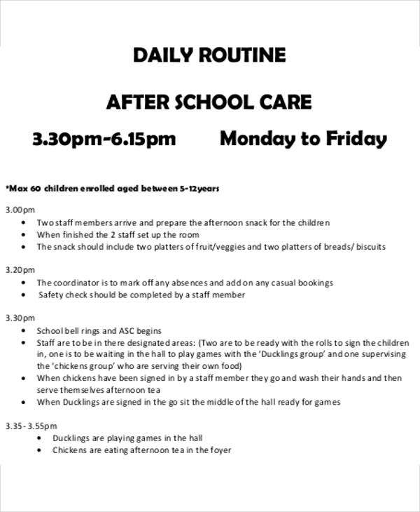 After School Schedule Templates   Free Word Pdf Format