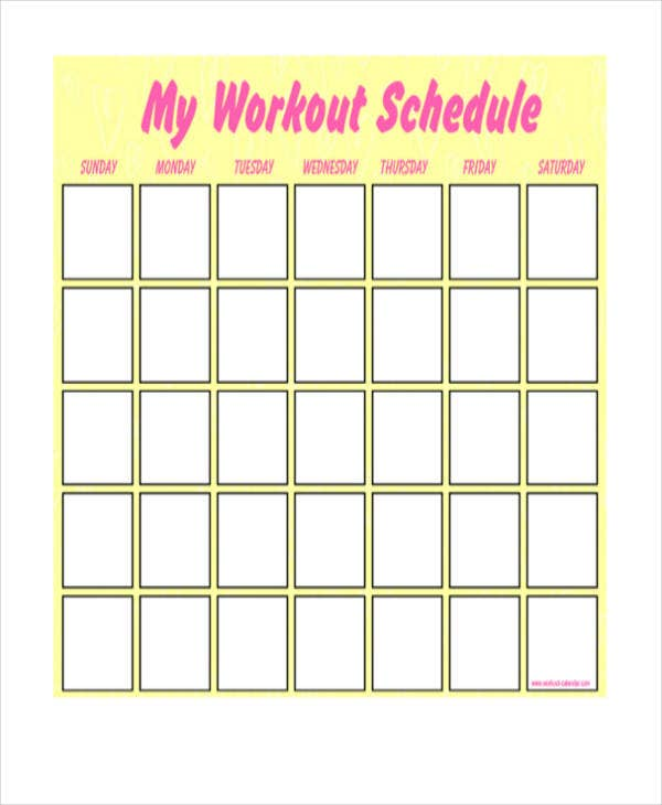 Printable Blank Workout Schedule Template