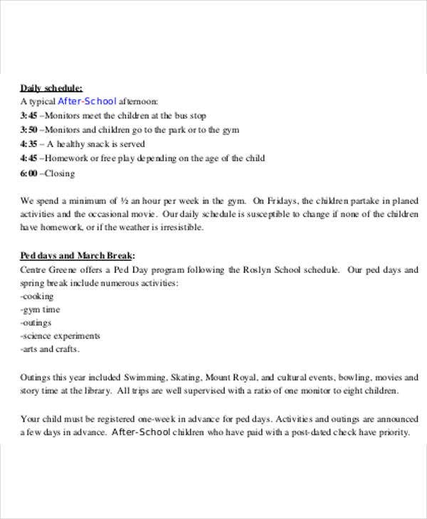 after school program schedule template