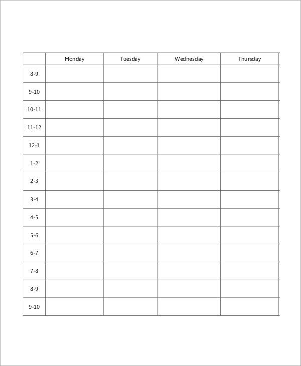 blank school schedule template 6 free pdf format download free
