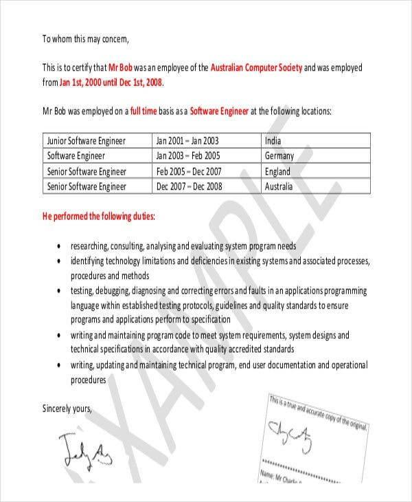 Formal Reference Letter Templates  Free Word Pdf Format