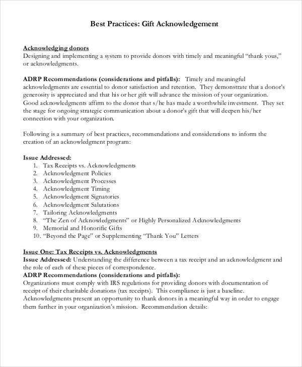 gift acknowledgement letter templates