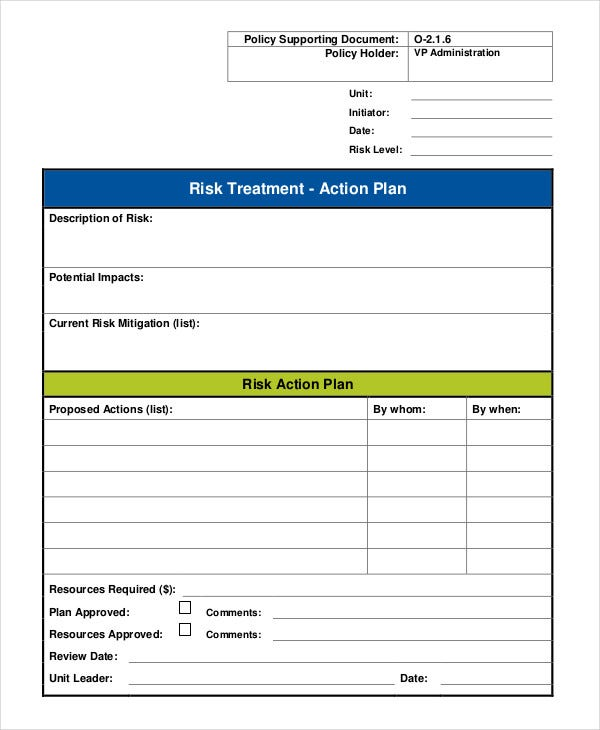 Risk Action Plan Templates - 8+ Free Word, Pdf Format Download