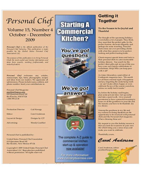 personal chef business plan template